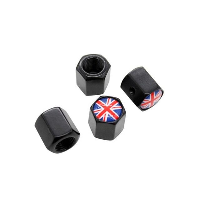 4Pcs/Set Black Color Anti-theft Valve Caps UK Flag United Kingdom Logo For MINI Jaguar Land Rover Car Styling