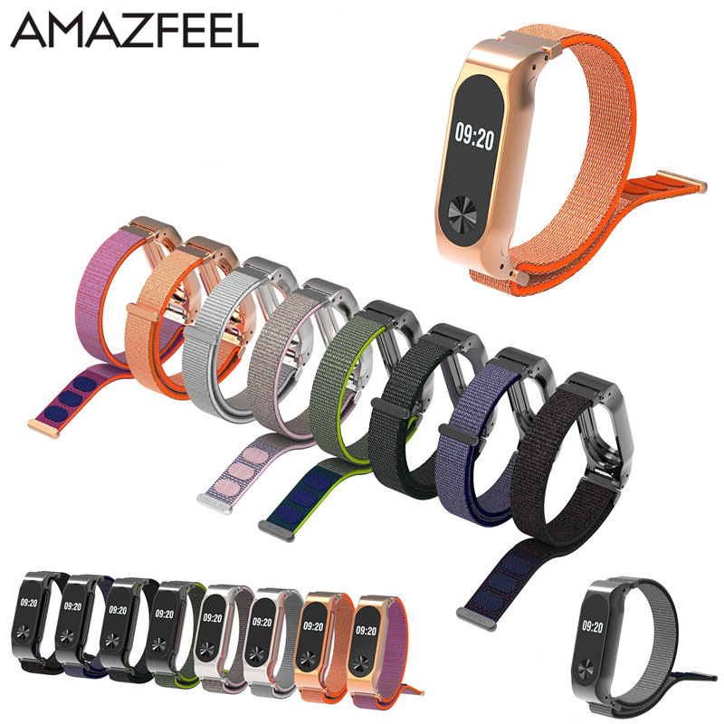 Amazfeel Mi Band 2 Strap Metal For Original Xiaomi Mi Band 2 Nylon Bracelet MiBand 2 Wristbands Replace Wrist Strap