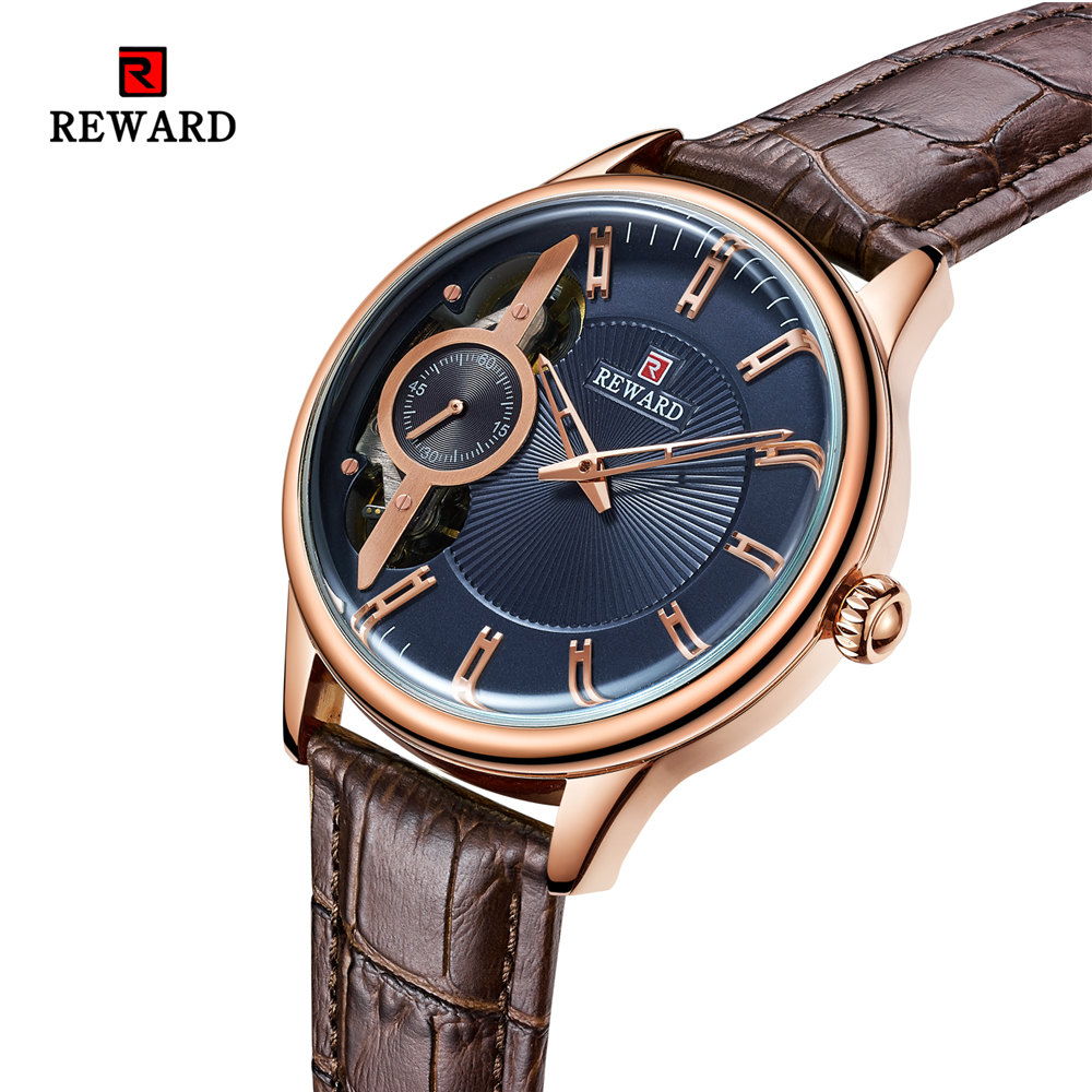 Rose Gold Automatic Mechanical Leather Waterproof Sport Watches