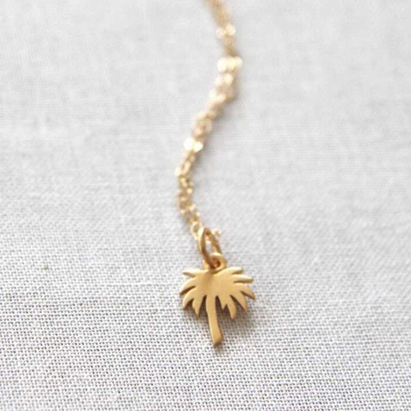 Boho Choker Vàng Palm Tree Vòng Cổ Mặt Dây Chuyền Collier Femme Thép Không Gỉ Chuỗi Vòng Cổ Cho Phụ Nữ Đảo Cuộc Sống Bff Đồ Trang Sức