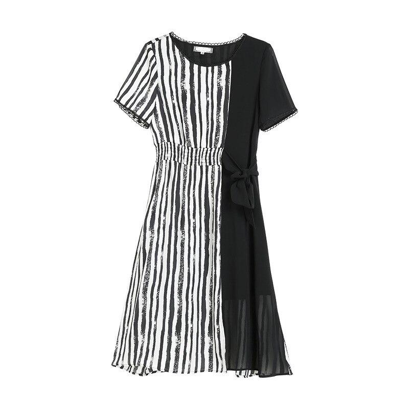 Negro Raya Vestidos negro Medio Vestido Más Tamaño 2018 Nuevo De Largos Patchwork Verano 5xl O La Mujeres cuello O0T0w6q