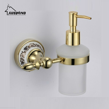 Vintage Gold Ceramic Wash Liquid Soap Dispenser European Polished Plated Liquid Soap Holder Wall Mount Bathroom Accessories Gm5