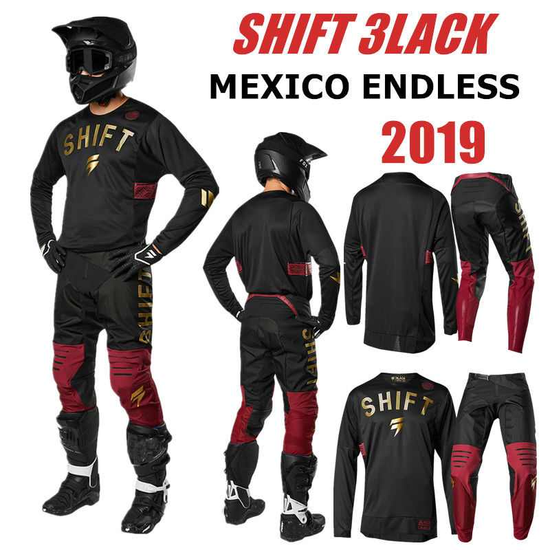 2019 Mexico Endless Shift 3lack Motocross Jersey And Pant RED GOLD ATV BMX Moto Gear Set