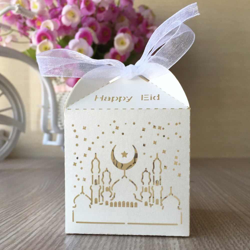 50 stks/partij hot koop laser cut parel papier kleine doos ramadan decoraties voor party happy Eid woorden op box decoraties