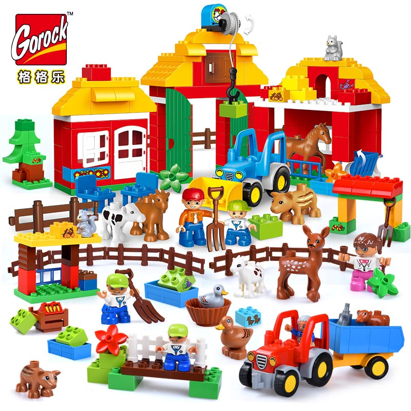 цена на GOROCK Happy Farm Large Blocks Happy Zoo With Animals Building Blocks Set For Kids DIY Gifts Compatible With Duploe Baby Toys