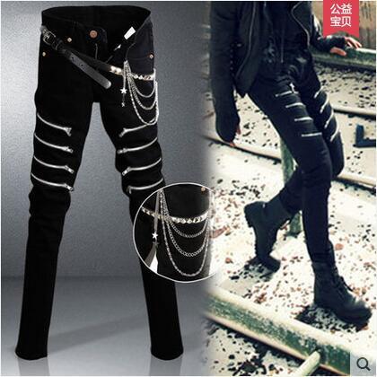 Spring Autumn Pencil Pants For Men Personalized Star Harem Hip Hop Dance Jeans Casual Rivet Chain Zipper Punk Mens Skinny Pants
