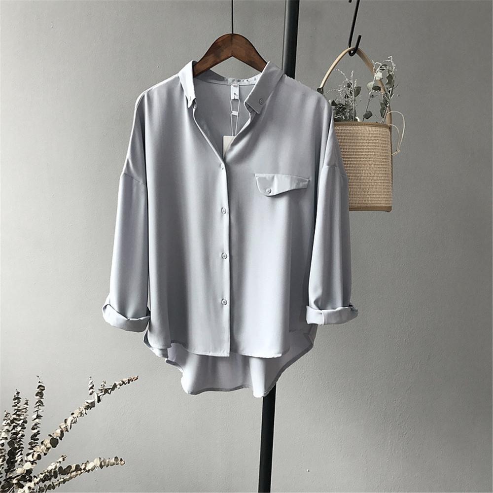High quality Casual Chiffon white Women blouse shirt oversized Three Quarter sleeve loose shirt office wear casua tops blusas (13)