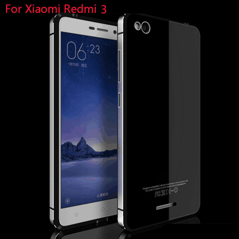Aluminum Metal Tempered Glass back cover For Xiaomi Redmi 3 Back Battery Cover Case With Frame