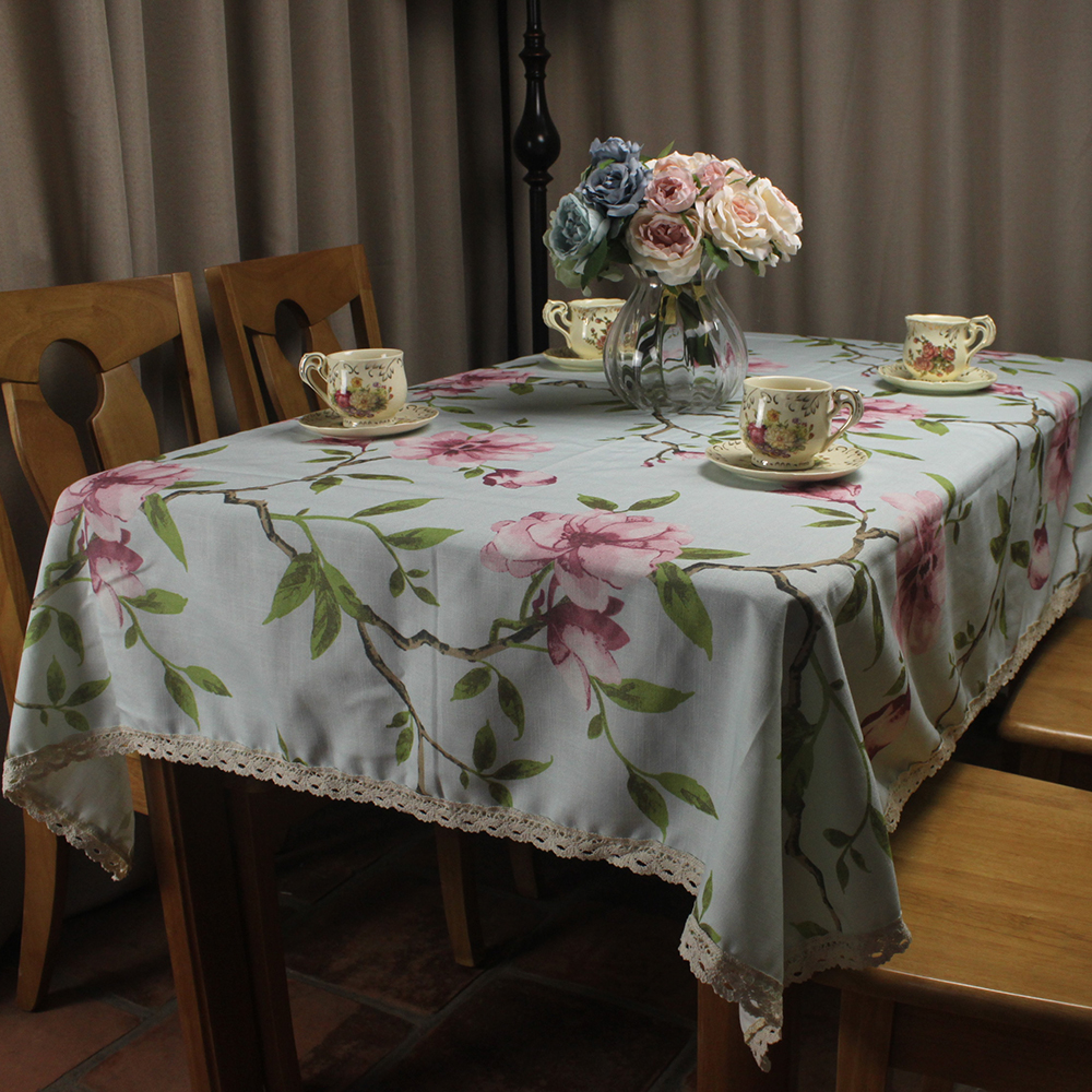 Curcya dining table cover cloth magnolia flower printed cotton linen tablecloth for tea coffee tables christmas