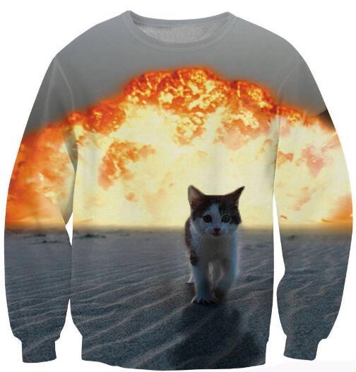 DaLON  Co., Ltd. Spring Autumn Crewneck Fashion Clothing 3D Printed Sweats explosion Cat Sexy Long Sleeve Sweatshrit Pullover