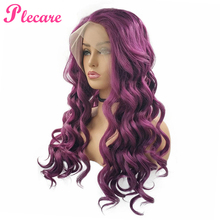 Plecare Synthetic Wig Pruiken Full Lace Front Lang Wavy Hair 26inches Purple Ombre Synthetische Kant Wigs
