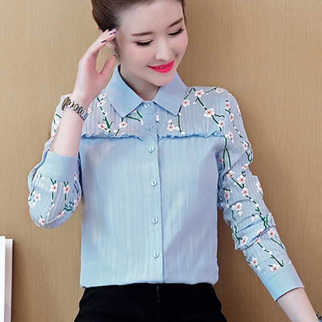 f843c50411af17 New Spring Autumn Blouse Women Embroidery Blouse Long Sleeve Shirts Cotton  Shirt Office Ladies Pink White Tops Camisa Feminina