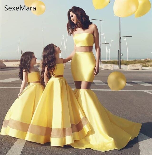Новое желтое платье для девочек, сатиновое бальное платье с двумя рисунками, платье для мамы и дочки, детское вечернее платье, размер на зака