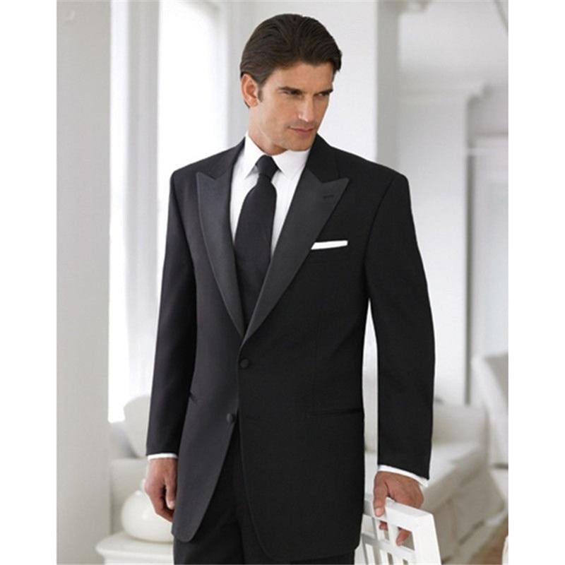 brand new 187b6 44f0e mens suits wedding groom Abito uomo Smoking Sposo Su Misura Nero damascato  accanto ad una abito da Sposa