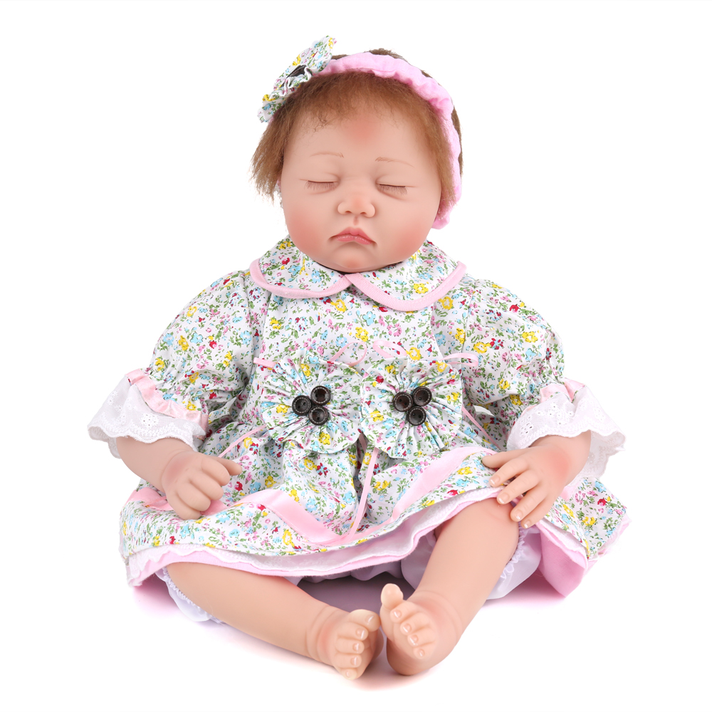 55CM 22Inch Sleeping Reborn Baby Doll  Gender Girl Soft Alive Half Body Silicone Reborn Dolls Newborn Bebe Toys Gifts Bonecas hot sale 2016 npk 22 inch reborn baby doll lovely soft silicone newborn girl dolls as birthday christmas gifts free pacifier