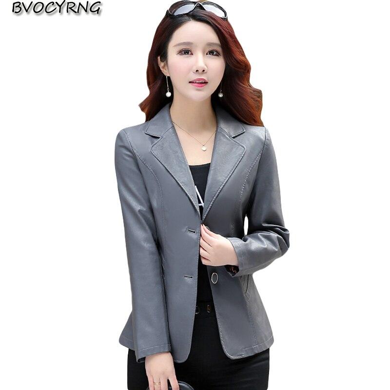Woman   Leather   Jacket Black 2018 Spring Autumn Mother Casual   Leather   Coat Plus Size Elegant Slim jackets Lapel Outerwear A0790