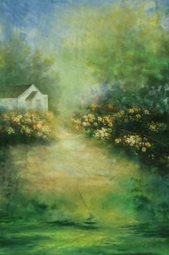 10x20ft peint à la main printemps Mousseline scénique décors photographie de mariage, 100% coton portrait photo studio fleur milieux