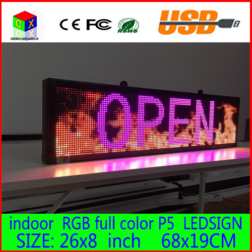 Free Shipping 680X190MM Programmable LED Scrolling Message Display Sign Led Panel Indoor Full Color Board