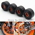 4 Pçs/lote Roda de Alumínio Da Motocicleta Garfo Dianteiro & Traseiro Quadro Slider Bater Pad Protetor Universal Para KTM Duke RC 125/200/390