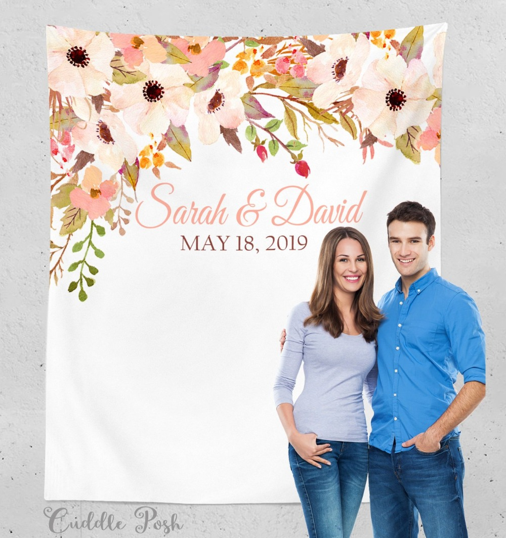 Personalized Wedding Photography Backdrop Floral Wedding Photo Booth Backdrop Wedding Banner With Name Date And Monogram Party Backdrops Aliexpress
