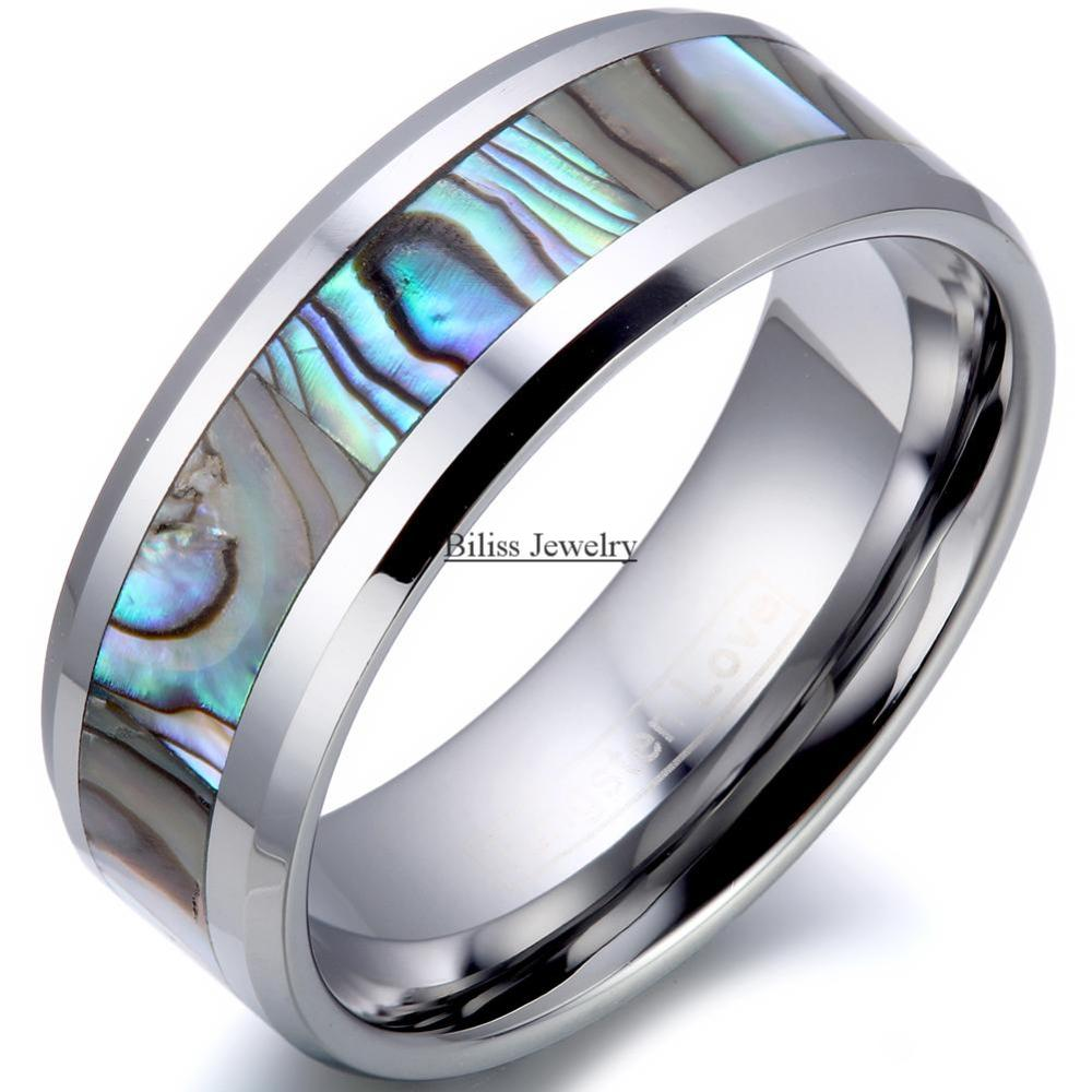 Online Shop 8mm Fort Fit Top Quality Tungsten Carbide Ring With Abalone Inlay Men's Wedding Band Male Engagement Aliexpress Mobile: Carbide Abalone Wedding Rings At Websimilar.org