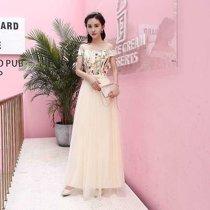 U-SWEAR 2019 New Arrival Women Bridesmaid Dresses Floral Embroidery Off The Shoulder Backless Chiffon Bridesmaid Dresses