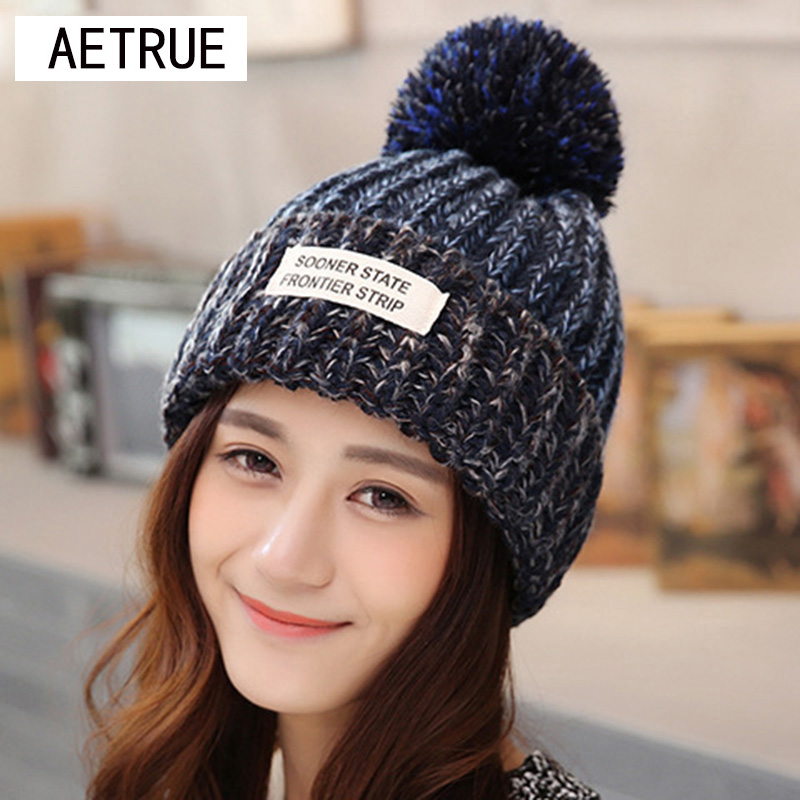 2018 Beanies Bonnet Frauen Winter Hüte Für Frauen Strickmützen Winter Hüte Marke Maske Ball Beanie Sturmhaube Gorros Skullies New Hat