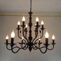 Luxo Rústico Ferro Forjado Candelabro E14 Vela Preta Do Vintage Antigo Lustres de Casa Para sala de estar da lâmpada Europeia