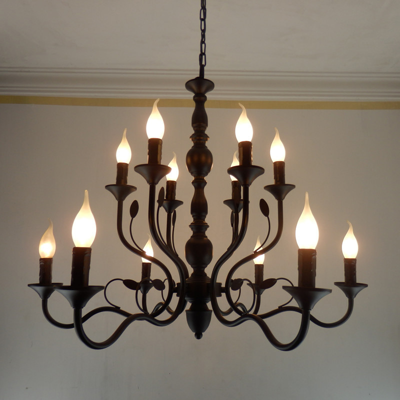 Luxury Rustic Wrought Iron Chandelier E14 Candle Black Vintage Antique Home Chandeliers For Living room European