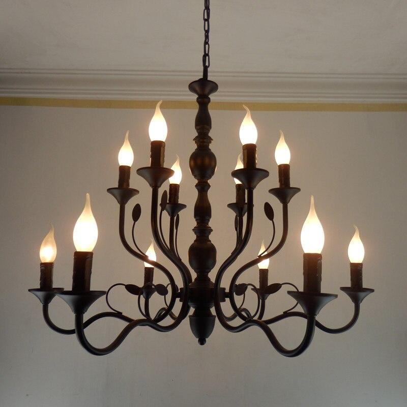 Vintage Noir Métal Lustres En Fer Forgé Maison Lustre Pour Salon Industriel En Métal Lustre Rustique candélabres lampe