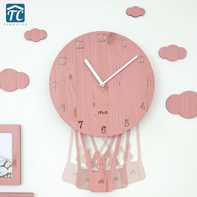 Swing Creative Cartoon Wall Clock Living Room Simple Personality Clocks Child Bedroom Silent Cute Clock
