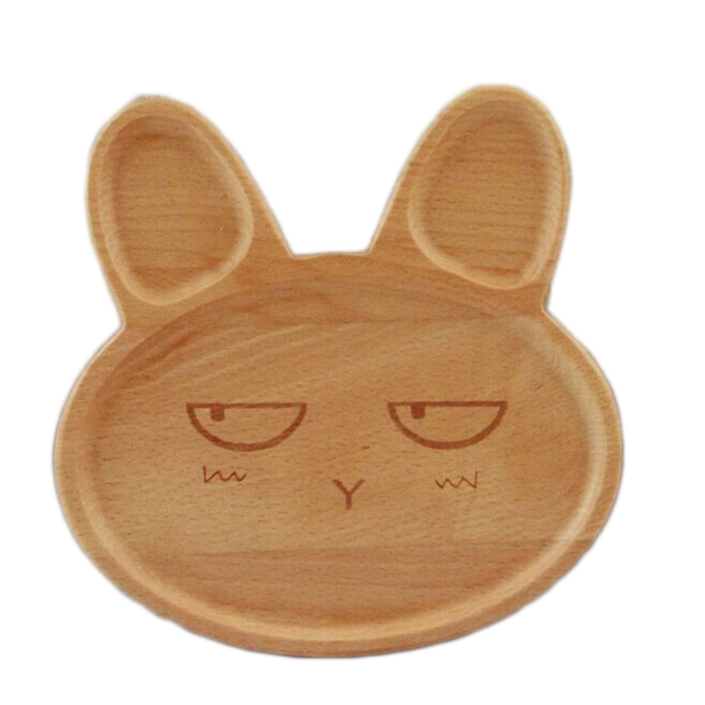Kartun Kelinci Wajah Kayu Piring Makan Lucu Hewan Pola Layanan