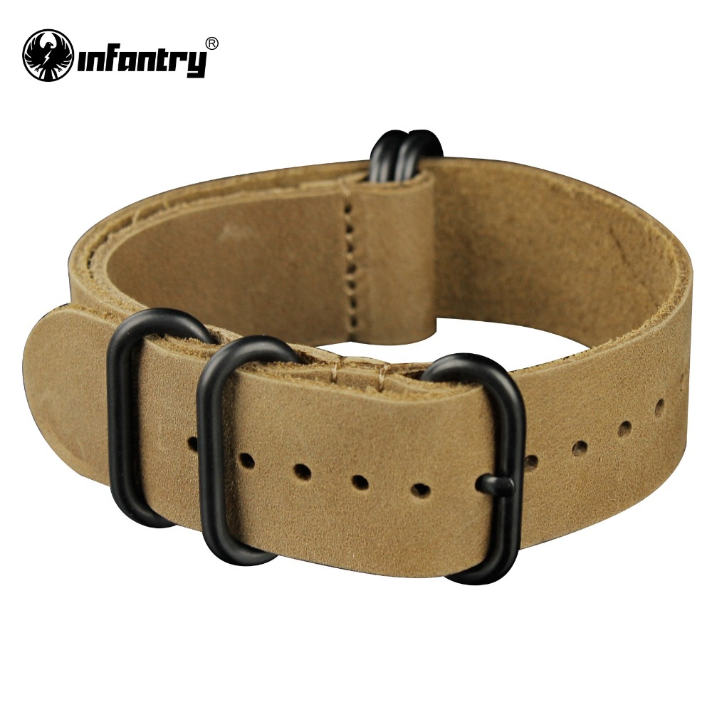 Infantry 22mm Genuine Leather Bracelets Outdoor Brown Watch Straps Bands Fashion Design Soft Durable