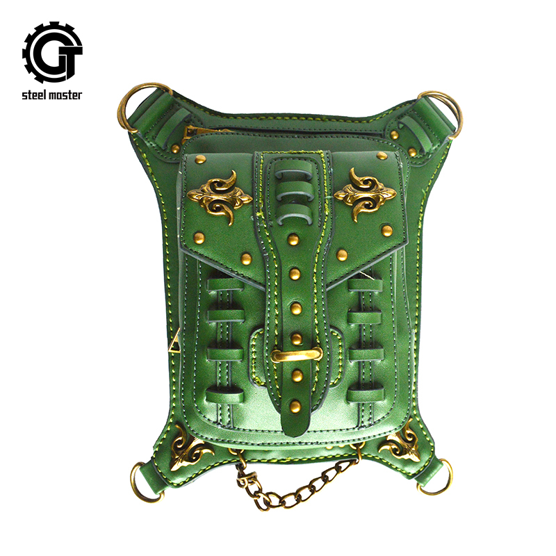 Vintage Steampunk Waist Bags Punk Rivets Shoulder Bag Cool Gothic Green PU Leather Travel Bag Men Womens Motorcycle Leg Bags