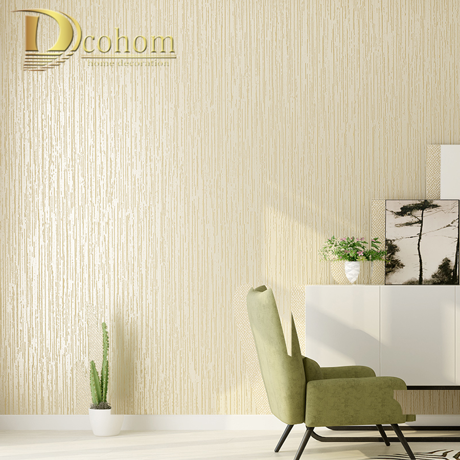 Dcohom Modern Solid Color 3D Striped Wallpaper For Bedroom Living Room Sofa TV Walls Decor Simple Non-Woven Wall Paper Rolls modern wallpaper for walls black white leaves pattern bedroom living room sofa tv home decor luxury european wall paper rolls
