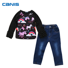 2017 New Brand Toddler Infant Kids Baby Girls Autumn Outfits Unicorn Tracksuit Clothes T-shirt Tops Pants 2Pcs 1-7T