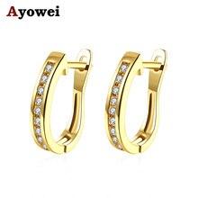Ayowei простой кристалл белый циркониевые золотого цвета кольцо серьги для женщин модные повседневные украшения JE1179A