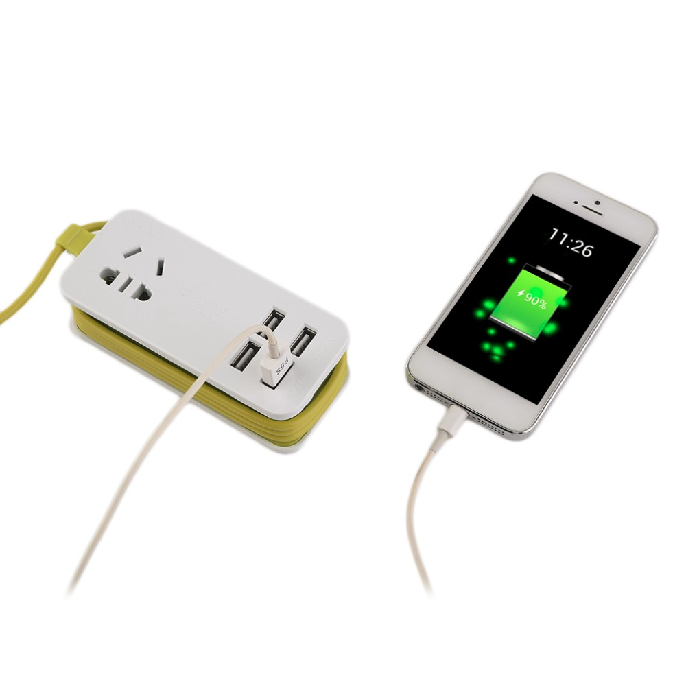 Fast Charging 4 Ports Universal Usb Power Strip Portable Charger Travel Adapter Plug Extension