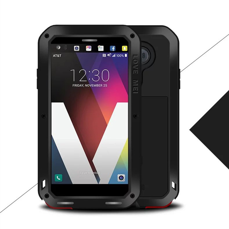 Love Mei Waterproof Shockproof Rugged Tempered Glass Cover Straight Metal Aluminum Case For LG V20