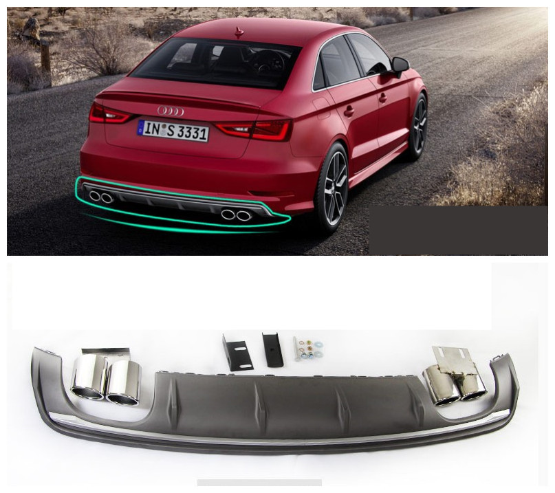 For Audi A3 S3 RS3 2014.2015.2016.2017 Rear Lip Spoiler High Quality PP ABS Car Bumper Diffuser Auto Accessories