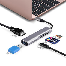 USB Tipe C Tipe-C USB-C Hub untuk HDMI 4 K Usb 3.0 TF SD Card Reader Thunderbolt 3 dex Mode Adaptor untuk Macbook Air Pro Samsung S8(China)