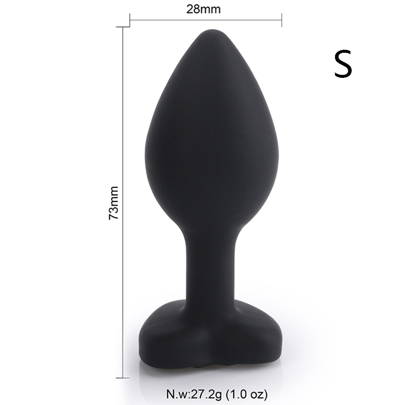 MaryXiong Small Black Heart Silicone Anal Plugs Butt Plug Jeweled Anal Beads Adult <font><b>Sex</b></font> Toys for Men Women Couple Anal Trainer image