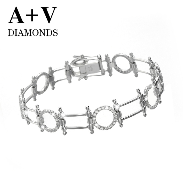 free shipping 18K white gold nature diamond modern stylish trendy bracelet  for women engagement wedding