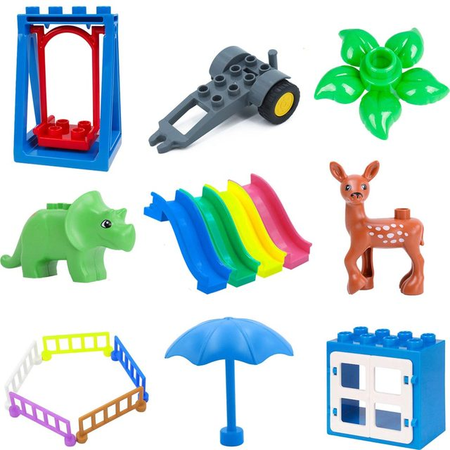 Compatible Duplo Brick Big Size Diy Building Blocks Swing Dinosaurs Figures Animal Vehicle Accessories Toys For kids Children 40