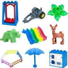 legoing duploed Jurassic World dinosaurs Animal Big Size Accessories Series Building Blocks Brick Figures Toys For Children kids