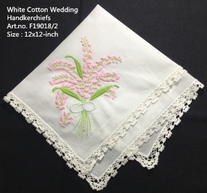 Set Of 12 New Wedding Handkerchiefs White Cotton Hankies With White Lace Edged & Color Embroidery Floral Hanky For Bride Gifts