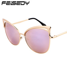 FEISEDY Fashion Retro Cat Eye Sunglasses Women Vintage Hollow Sexy Celebrity Sun Glasses For Women UV400 Mirror Lunettes Gafas