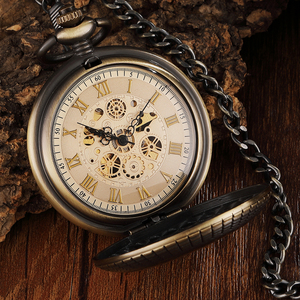 Image 2 - Vintage Wood Circle Carved Number Dial Mechanical Pocket Watch Men Unique Hollow Steampunk Bronze Mechanical Clock Watches Chain