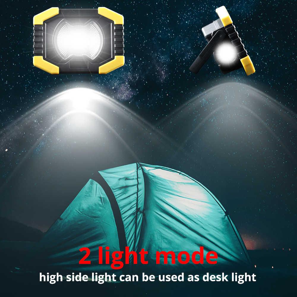 80W Led Tragbare Scheinwerfer Solar Led Arbeit Licht USB Aufladbare Outdoor Lampe COB Flutlicht Zelt Laterne Reparatur 18650 Panel