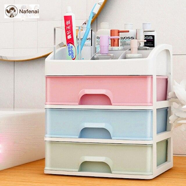 Plastic Makeup Organizer Box Cosmetics Jewelry Necklace drawer organizer Storage jewelry organizer box for bedroom small box